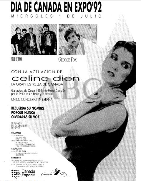 Promoción del concierto de Celine Dion en Sevilla en el diario ABC