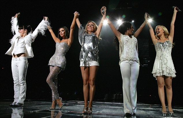 VANCOUVER, CANADA - DECEMBER 02:  (FILE PHOTO)  *** EXCLUSIVE ***  (EDITORS NOTE: THIS IMAGE HAS BEEN DIGITALLY ENHANCED)(L to R) Melanie Chisholm,Victoria Beckham, Geri Halliwell, Melanie Brown and Emma Bunton of the Spice Girls perform during the first night of The Return of Spice Girls World Tour at GM Place on December 2, 2007 in Vancouver, Canada. The Spice Girls have announced that they will be cutting their world reunion tour short due to family and personal commitments. The pop group were due to end their tour  in Toronoto on February 26, 2008, with the show going to Beijing, Sydney, Cape Town and Buenos Aires being cancelled.  (Photo by MJ Kim/Spice Girls LLP via Getty Images)