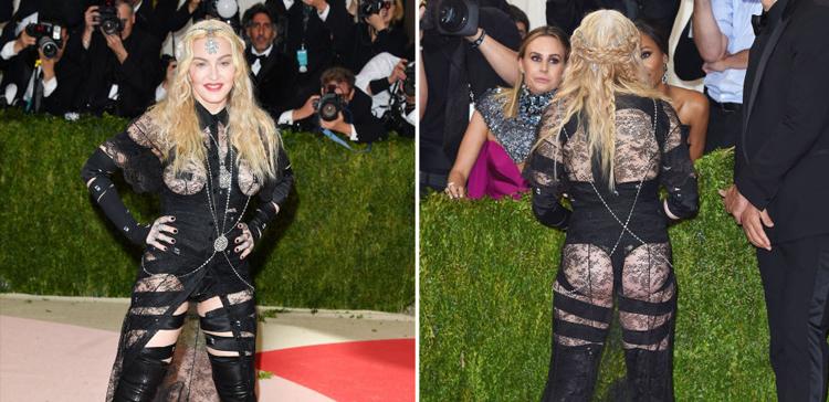 Madonna sirviendo prostitución élfica, por delante y por detrás.